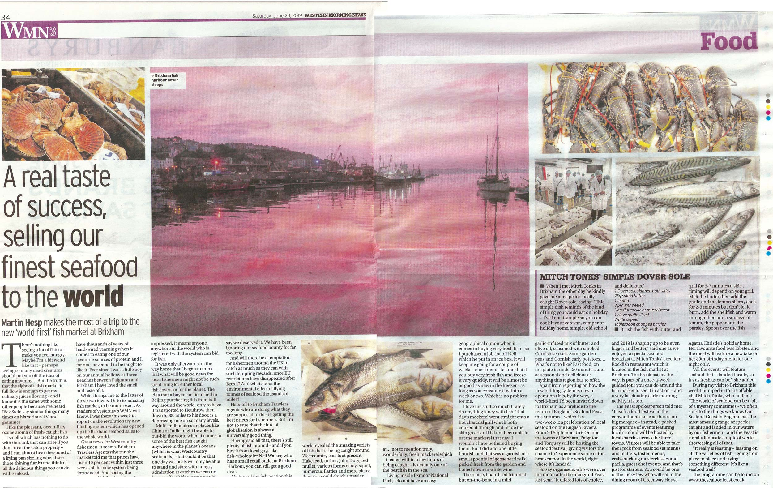 Western Morning News, 'A Real Taste Of Success Selling Our Seafood To The World' - June 2019